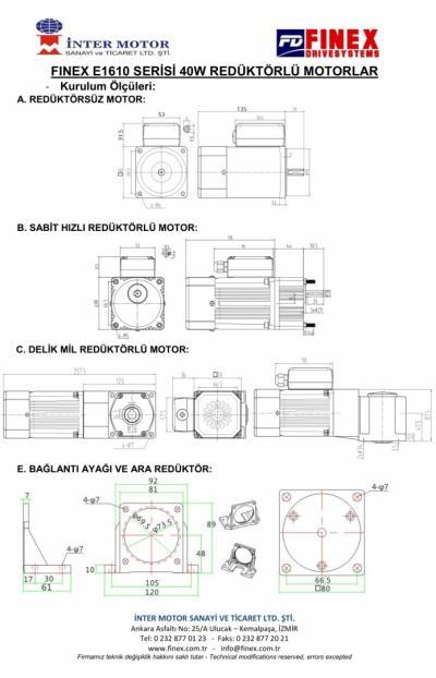 E1610 40W Helisel Dişli Redüktörlü Motorlar